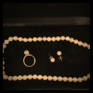 Pearl necklace, ring and earring set